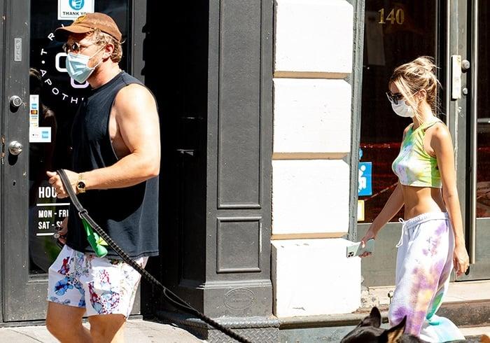 Sebastian Bear-McClard and Emily Ratajkowski walk their dog, Colombo, in New York City on July 9, 2020