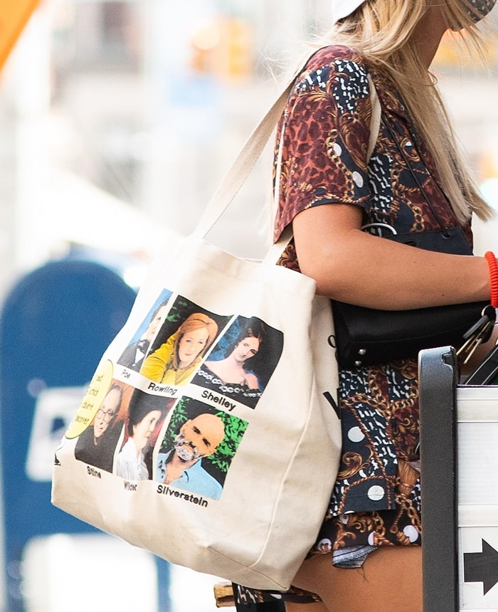 Emily Ratajkowski's Online Ceramics tote with portraits of authors including Mary Shelley, Laura Ingalls Wilder, J.K. Rowling, and Shell Silverstein