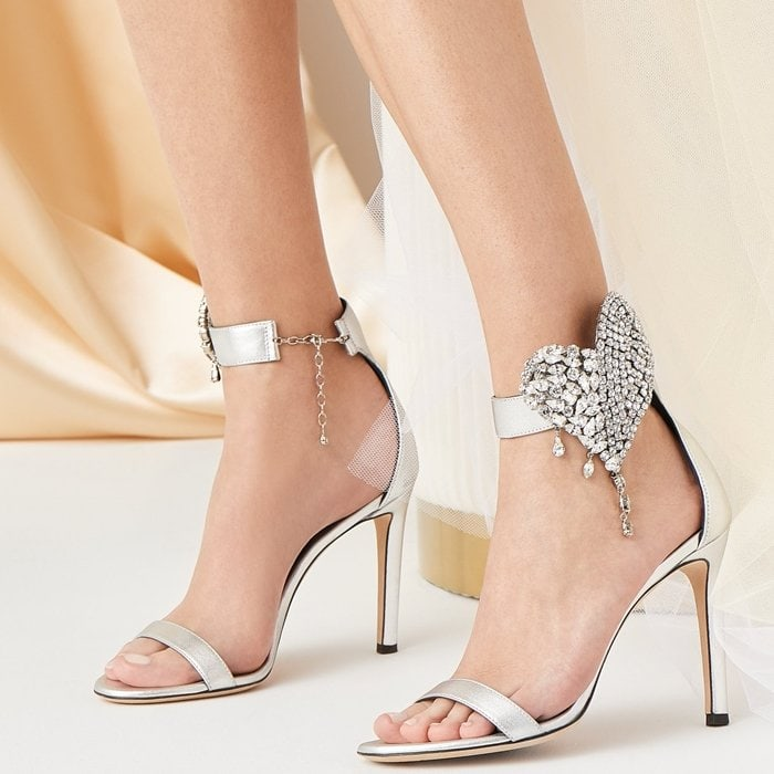 Silver-tone leather Amour embellished heart sandals from Giuseppe Zanotti featuring crystal embellishments, an almond toe, a single strap, a branded insole, an ankle strap, a clasp fastening and a high heel