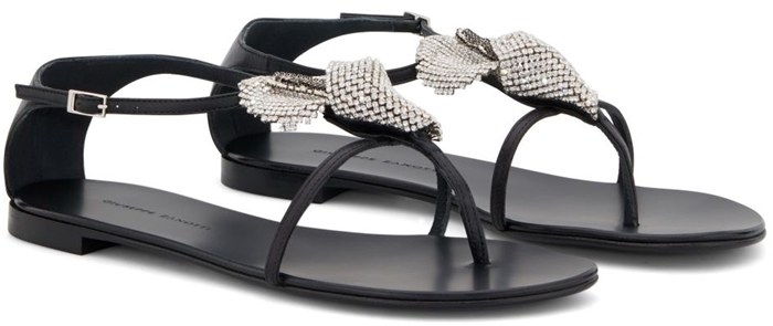 Black leather Calla flower sandals from Giuseppe Zanotti featuring silver-tone hardware, a strappy design, a branded insole, an ankle strap with a side buckle fastening and a flat rubber sole