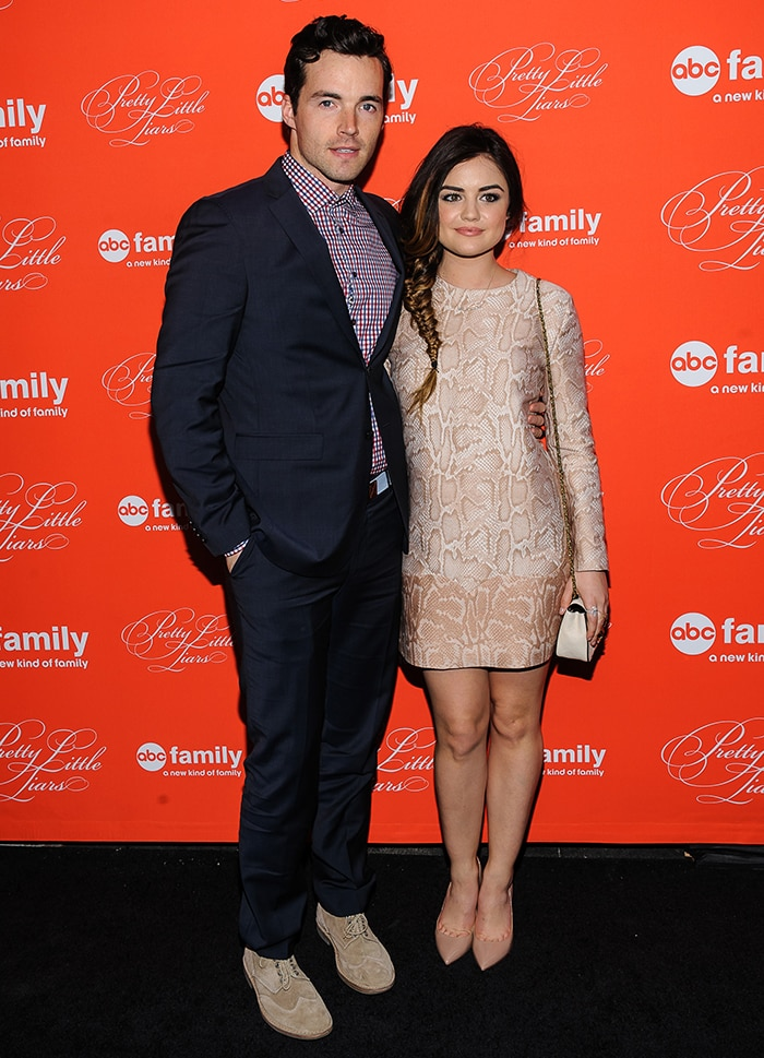 Ian Harding and Lucy Hale at Pretty Little Liars season finale screening in New York City on March 18, 2014