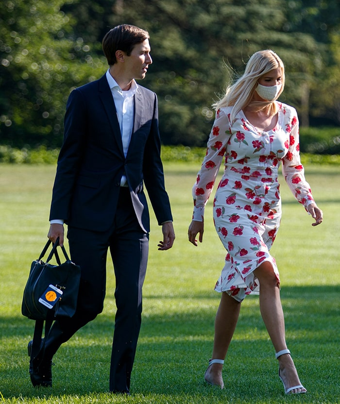 Ivanka Trump and husband Jared Kushner arrive on the South Lawn of the White House on July 26, 2020