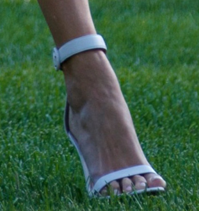 Ivanka Trump shows off her feet in white Gianvito Rossi sandals