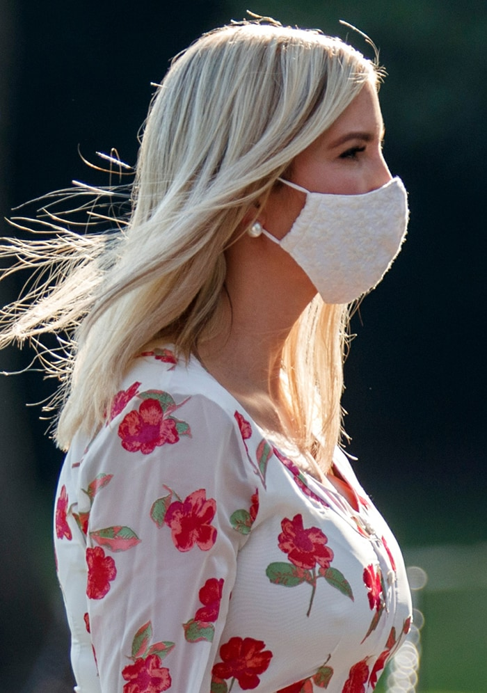 Ivanka Trump wears a white floral-embroidered face mask