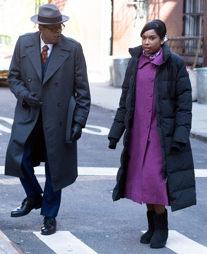Jennifer Hudson and Forest Whitaker filming 'Respect' in Greenwich Village