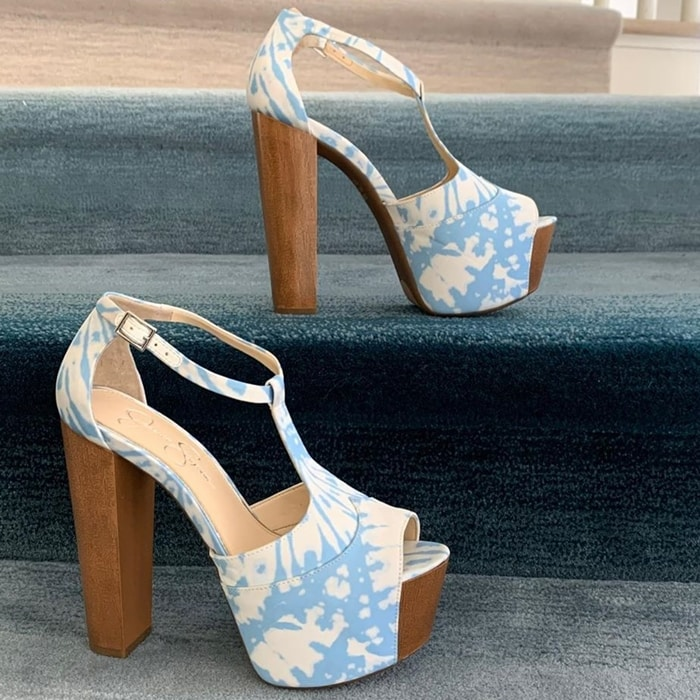 Jessica Simpson's classic platform sandals in fun tie dye pattern