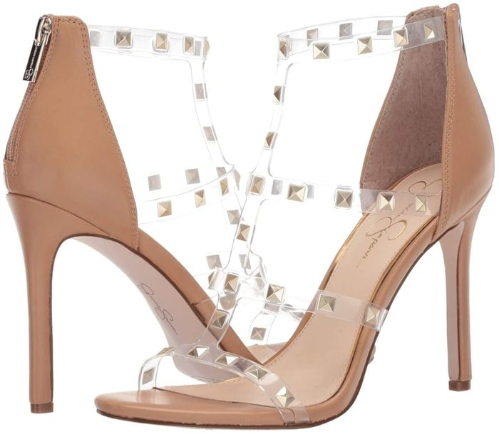 The Jessica Simpson Jiria sandal will lend fierce charm to any ensemble with a caged silhouette, geometric studded accents, and a wrapped stiletto heel