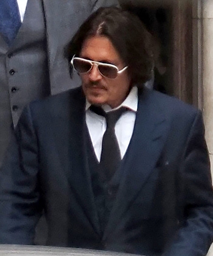 Johnny Depp arrives at the Royal Courts of Justice for the libel trial against The Sun on July 7, 2020
