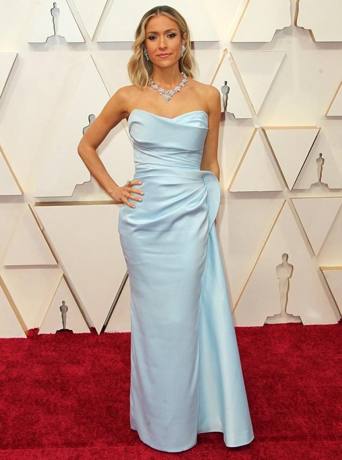 Kristin Cavallari wears a Valdrin Sahiti dress, Rene Caovilla shoes, and Nadine Jewellery jewels at the 2020 Academy Awards