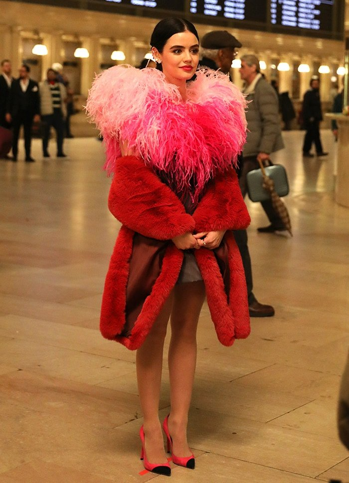 Lucy Hale wearing Saint Laurent Anja Pumps on Katy Keene set at the Grand Central Station on February 7, 2020