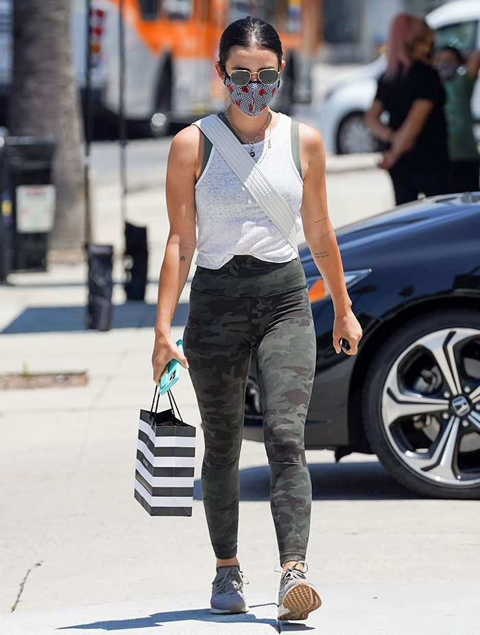 Lucy Hale shops in dark camo-printed Lululemon Align pants at Sephora