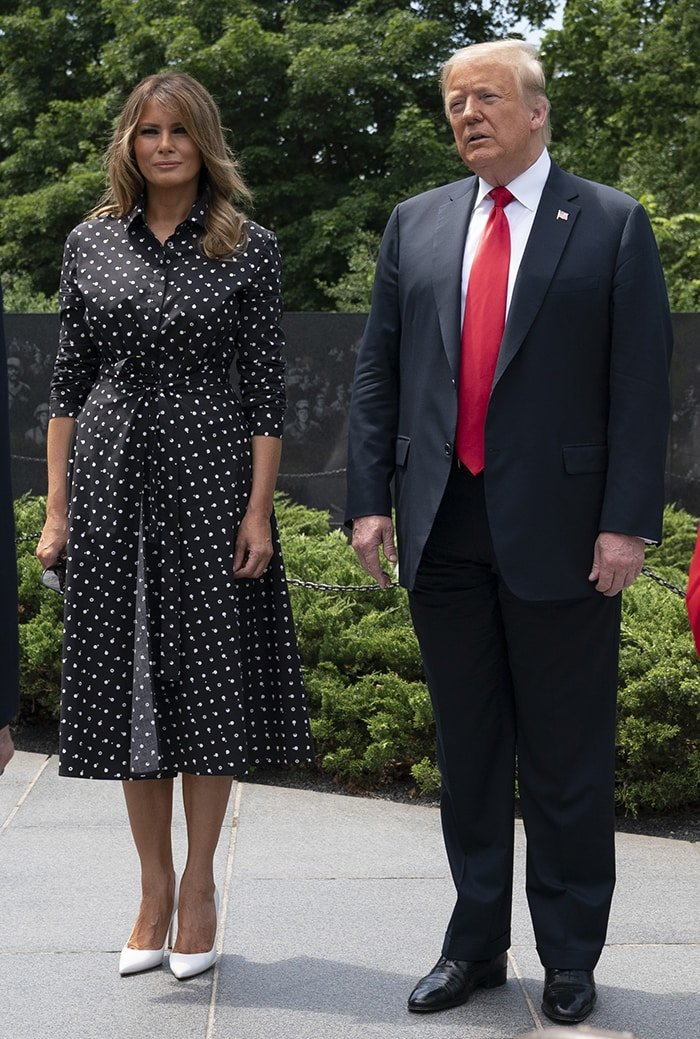 Melania Trump wears a black-and-white polka dot Rosetta Getty dress