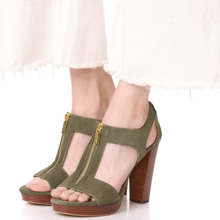 Cutout MICHAEL Michael Kors sandals composed of smooth, earth-tone suede