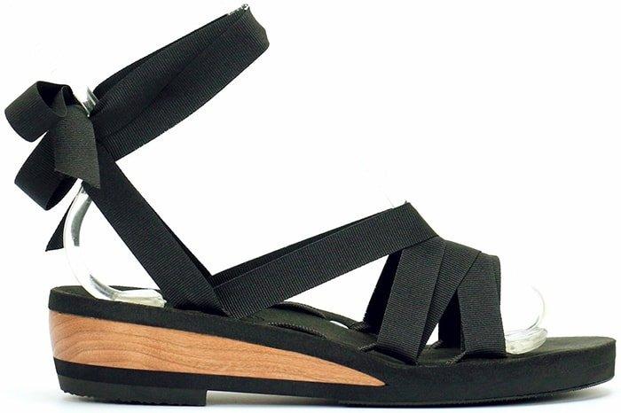 Mohop Low Wedge Slide Ribbon Sandal