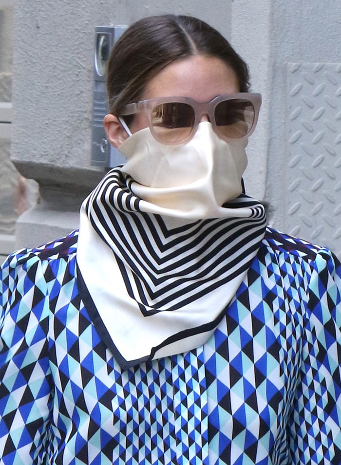 Olivia Palermo wears Westward Leaning sunnies and LeScarf kerchief
