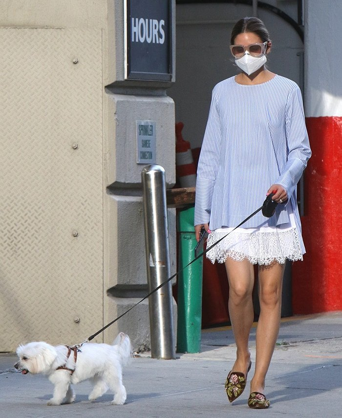 Olivia Palermo shows off her legs in a Zara striped tunic and white laced dress