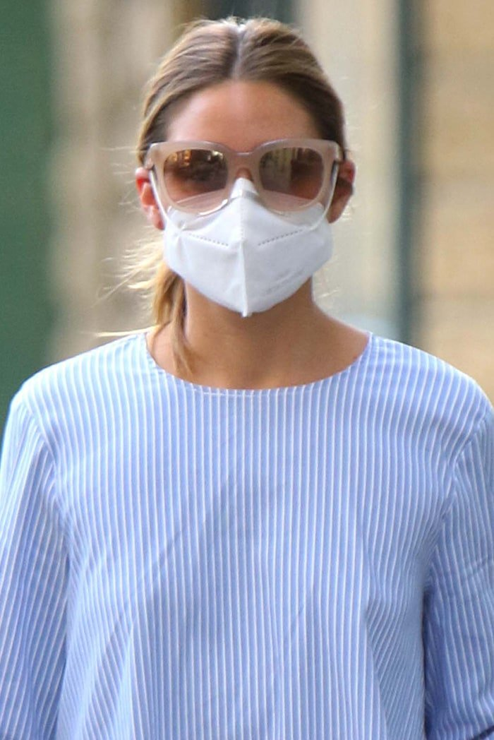 Olivia Palermo wears her face mask and Westward Leaning sunnies