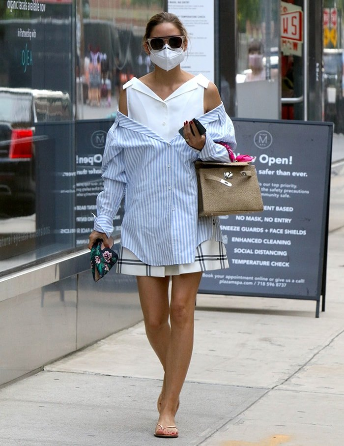 Olivia Palermo steps out to get a pedicure at a local spa in Downtown Brooklyn on July 7, 2020