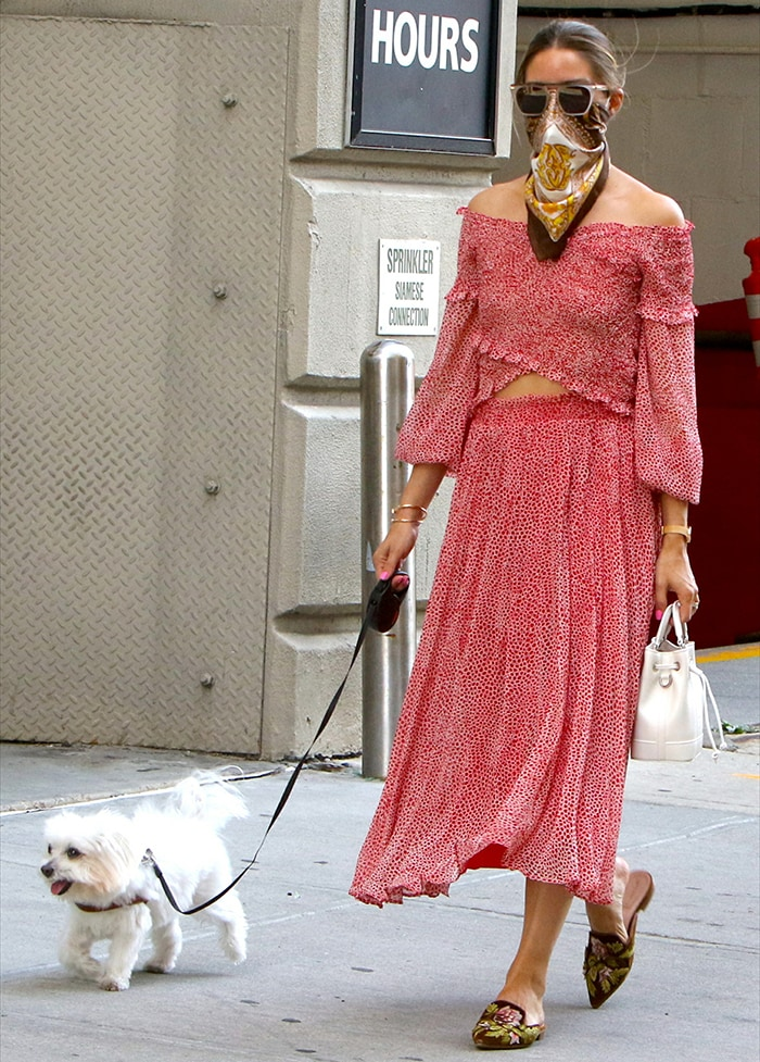 Olivia Palermo repeats her dog-walking Lucy Paris outfit on July 26, 2020