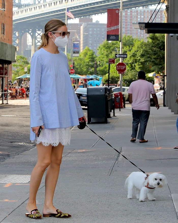 Olivia Palermo walks her dog in Dumbo, Brooklyn on July 18, 2020
