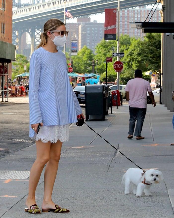 Olivia Palermo walks her dog in Dumbo, Brooklyn on July 18, 2020