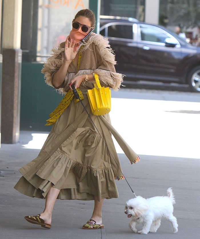 Olivia Palermo walks her dog, Mr. Butler, in Downtown, Brooklyn on June 29, 2020