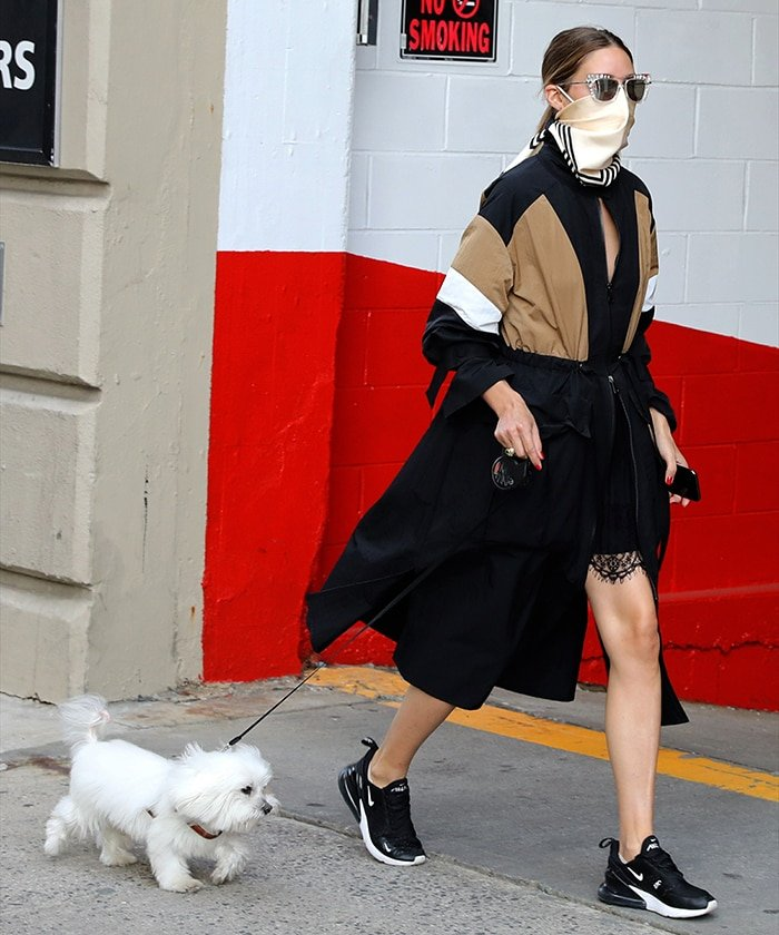 Olivia Palermo walks her dog, Mr. Butler, in Downtown, Brooklyn on July 16, 2020