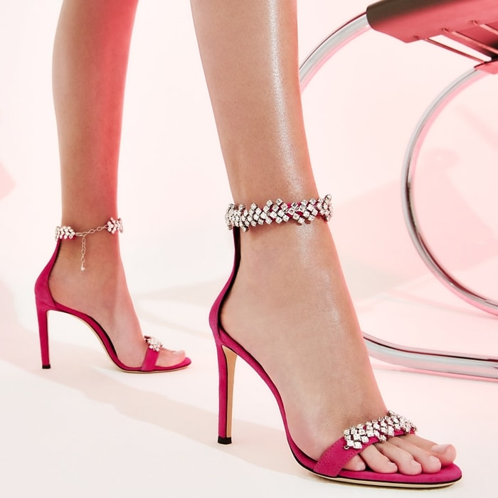 Pink leather Raissa sandals from Giuseppe Zanotti featuring a toe strap, a branded insole, an ankle strap, crystal embellishments and a high stiletto heel