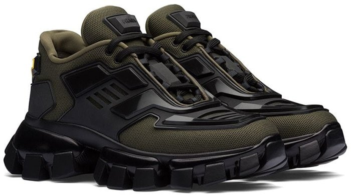 Prada Cloudbust Thunder Sneakers in Military Green/Black