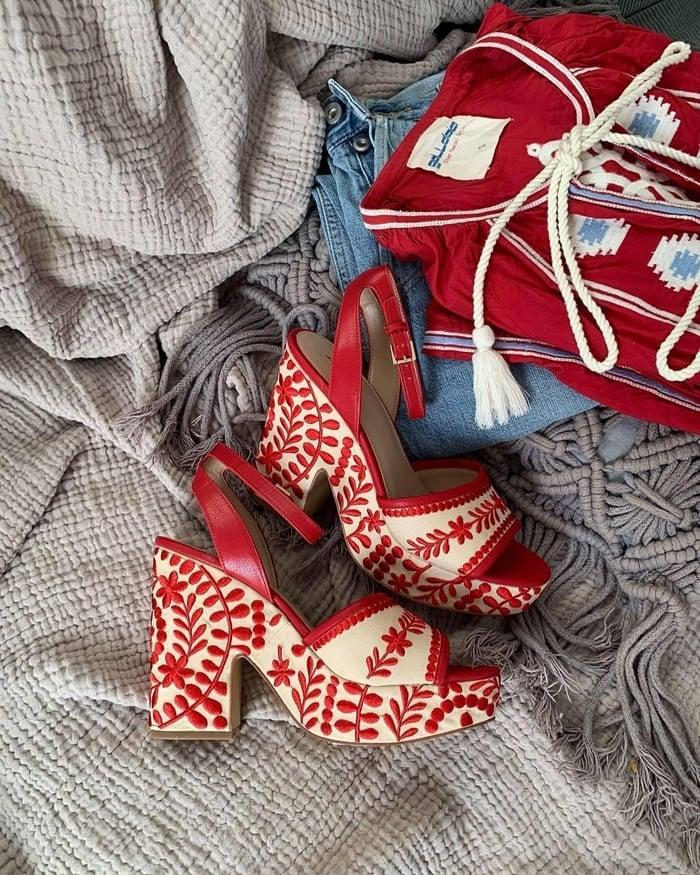 Red ALDO Quintinia Embroidered Block Heel Sandals
