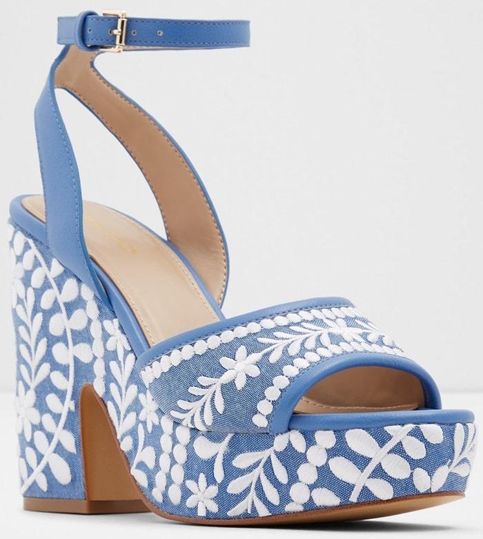 Blue Embroidered Block Heel Sandals