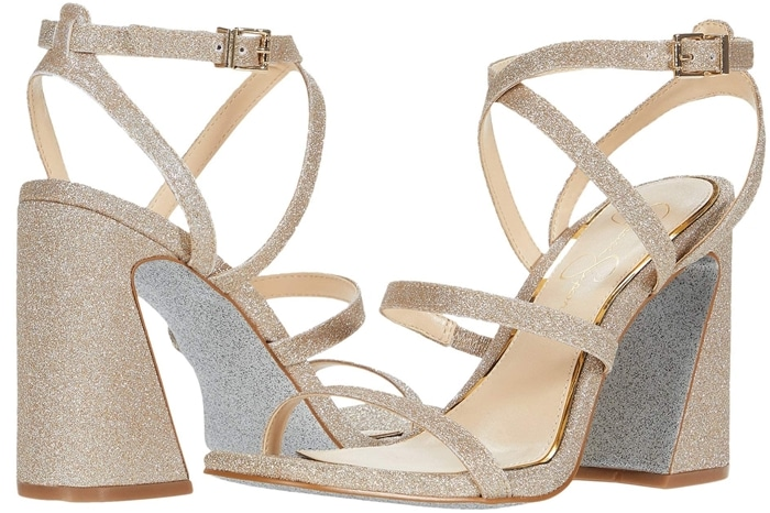 A sparkling sandal that can be worn at a dressy evening event or even in the afternoon for that bit of glam