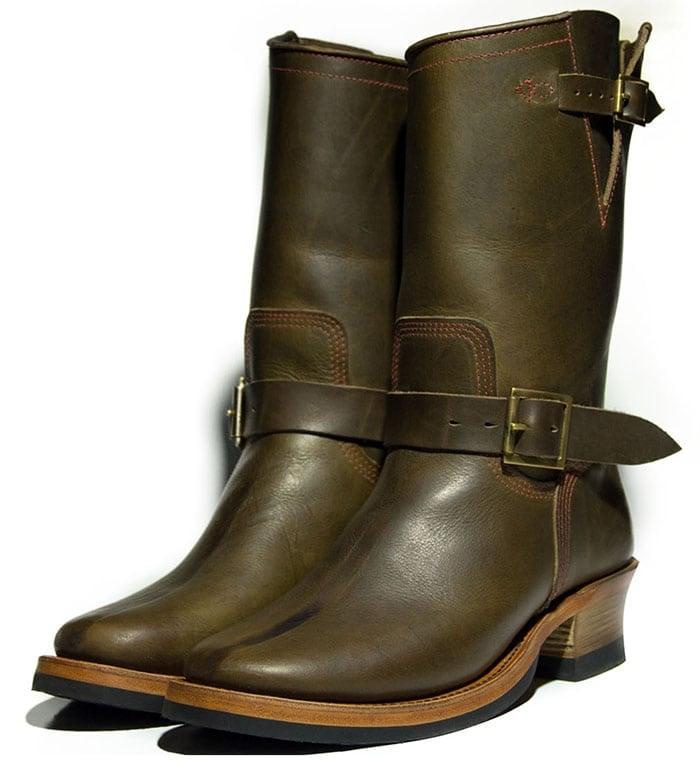 Role Club Dark Olive Steerhide Engineer Boots