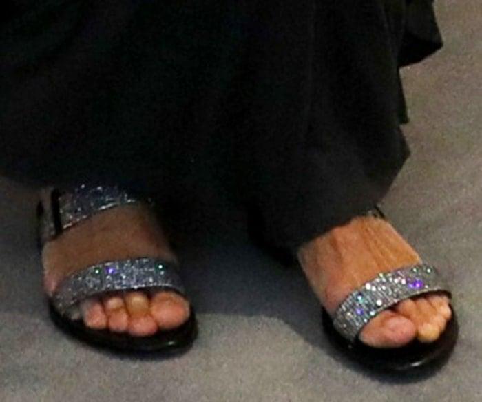Sarah Jessica Parker trades her sandals for rhinestone-embellished flat sandals