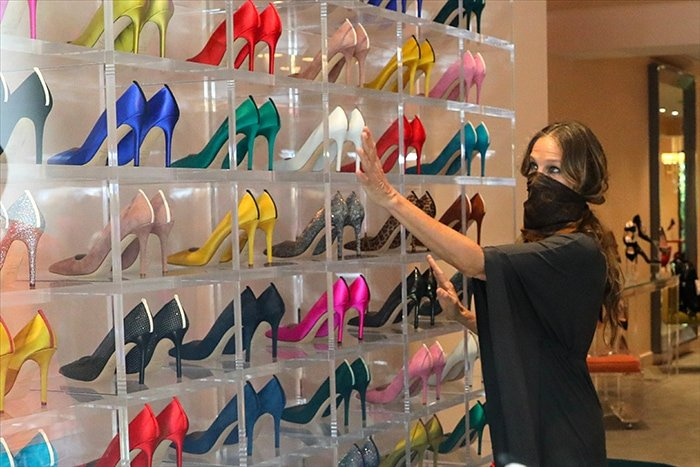 Sarah Jessica Parker browses shoes inside her new flagship store located in 31 West 54th Street Midtown Manhattan