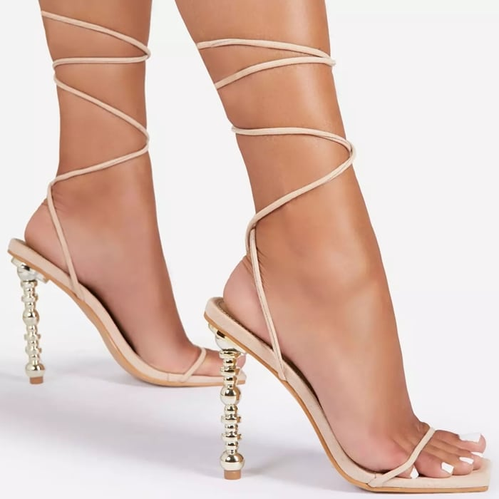 White Malibu Lace-Up Square Toe Sculptured Heels