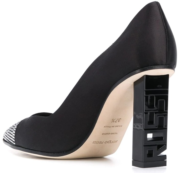 Black goat skin Super Heel crystal-embellished pumps from Sergio Rossi featuring crystal embellishments, a pointed toe, a slip-on style, a branded insole and a high heel