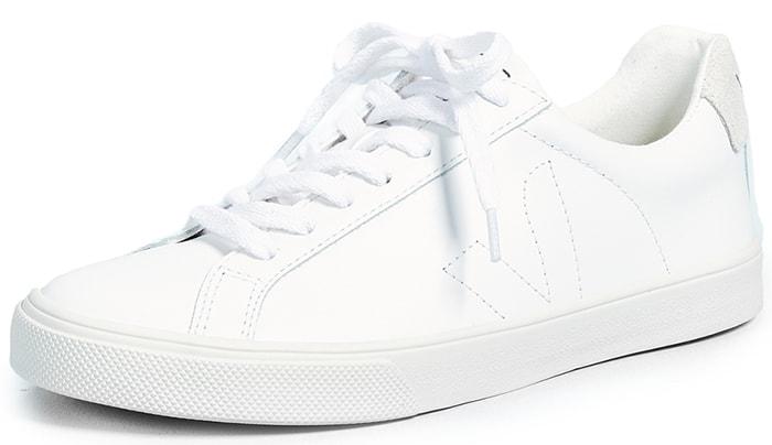 White Veja 'Esplar' Leather Low-Top Sneakers