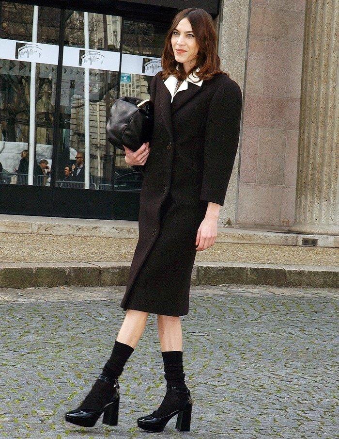 Alexa Chung attends the Miu Miu show as part of the Paris Fashion Week Womenswear Fall/Winter 2020/2021