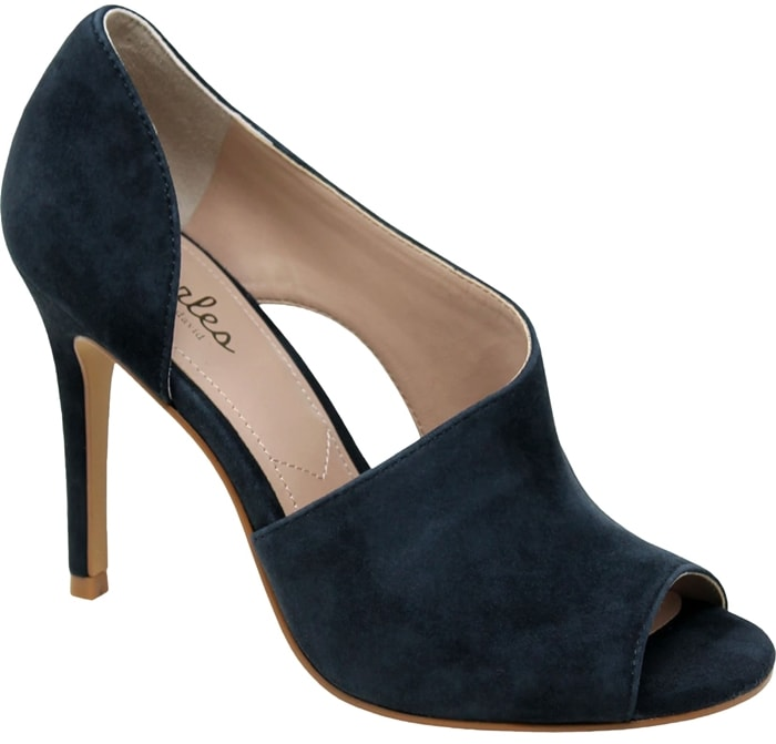 A tapered stiletto heel heightens the sultry attitude of this velvety navy suede pump featuring a half d'Orsay silhouette, a crescent cutout detail and an open toe