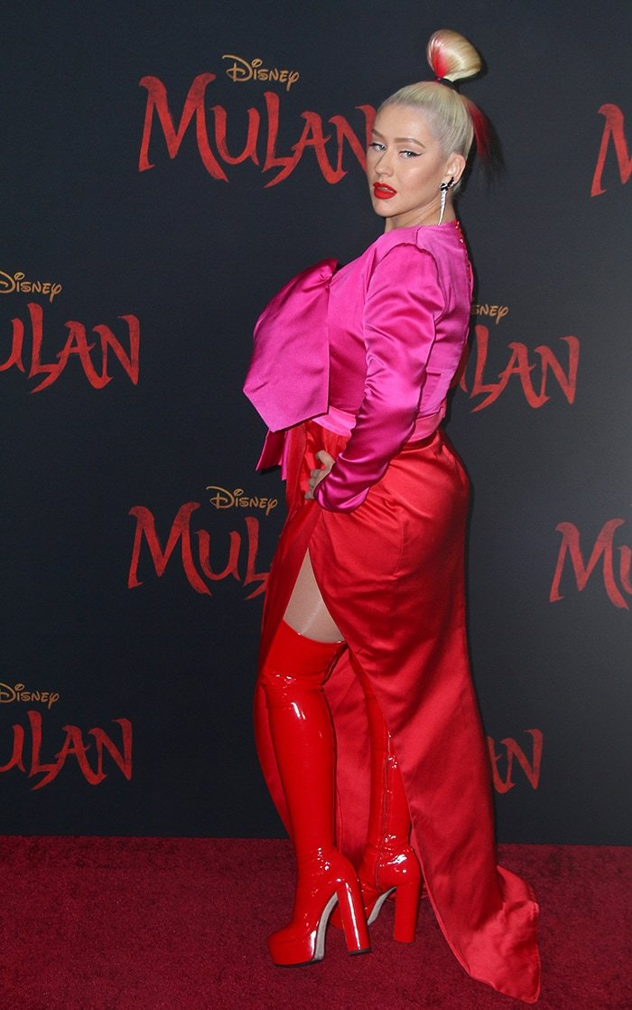 Christina Aguilera in Galia Lahav at the premiere of Disney's Mulan on March 9, 2020