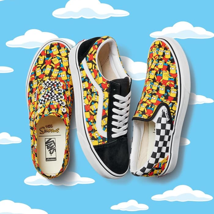 Slip-on shoes with an allover print featuring the entire Springfield gang