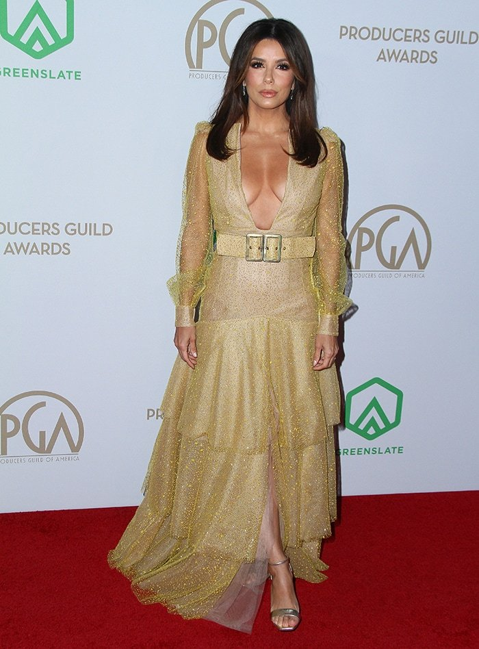 Eva Longoria shows off her cleavage in Teresa Helbig dress at the 31st Producers Guild Awards on January 18, 2020
