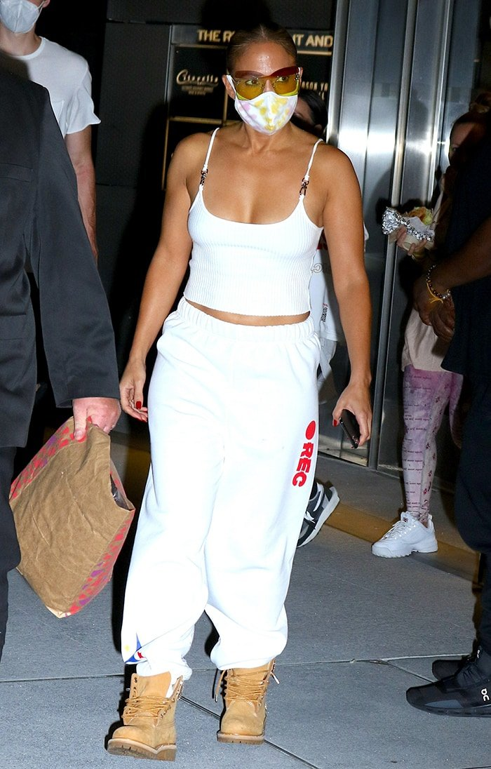 Jennifer Lopez leaving Hudson Yards after filming new music video with Maluma on August 9, 2020