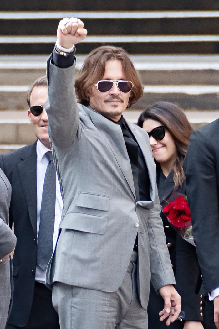 Johnny Depp outside the London High Court on the last day of his libel case against The Sun on July 28, 2020