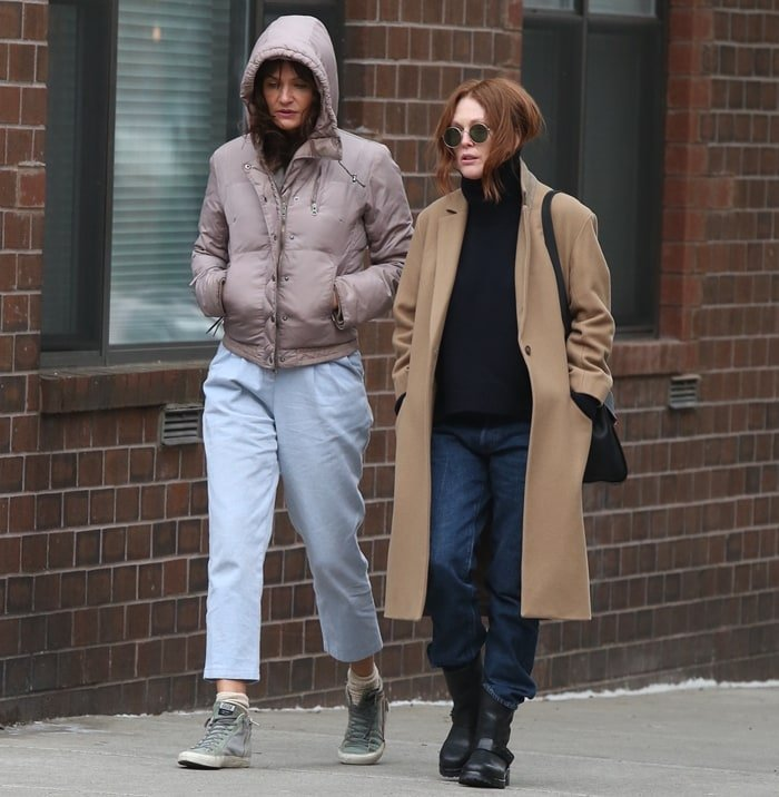 Julianne Moore and Helena Christensen leaving a restaurant after having lunch together in the West Village