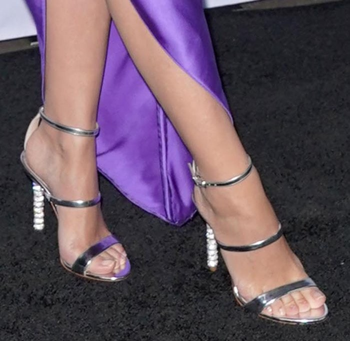 Kylie Minogue's beautiful small feet in crystal heel silver sandals