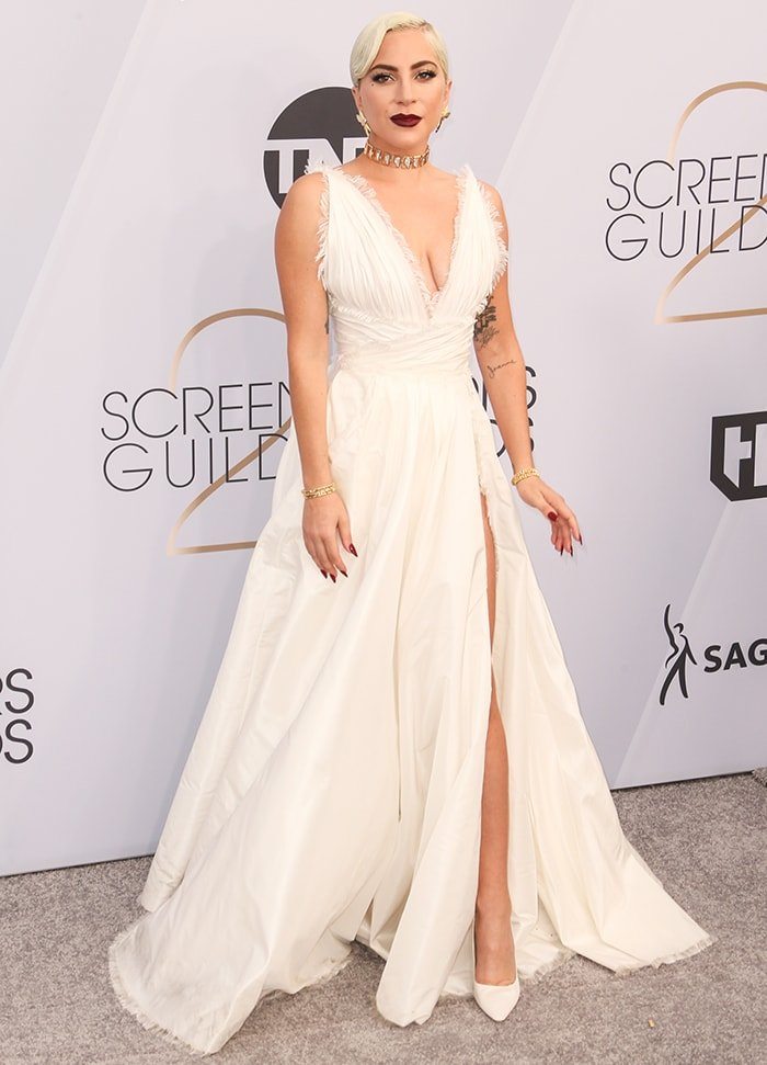 Lady Gaga in Dior couture gown at the 25th Annual Screen Actors Guild Awards on January 27, 2019