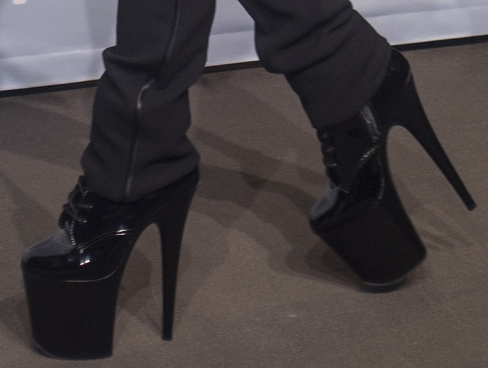 Lady Gaga's size 6 feet in ridiculously high platform boots