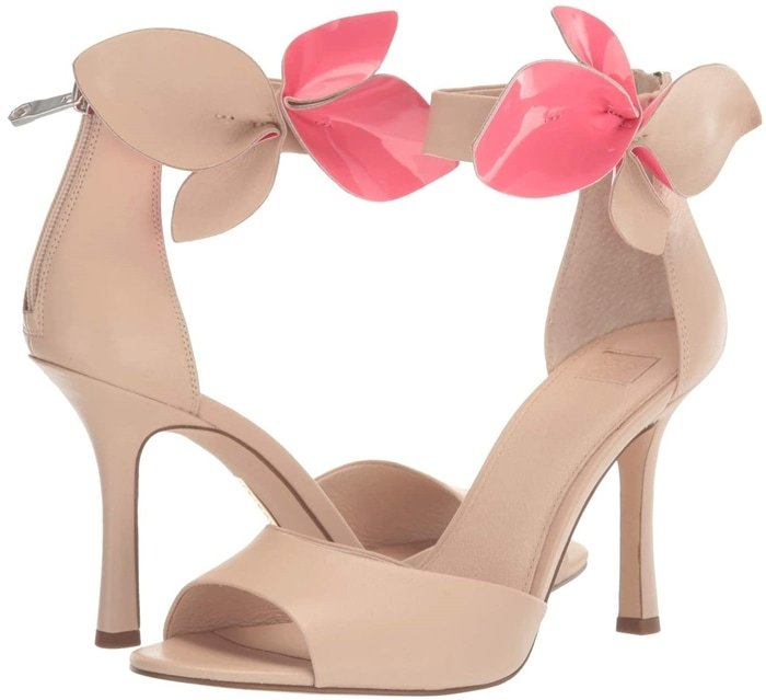 Heeled sandals feature a suede leather upper with floral twist detailing